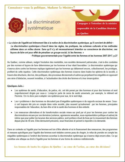 Fiche 1  La discrimination systémique